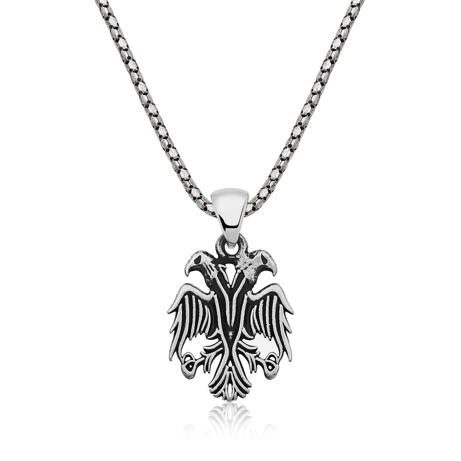 Double headed eagle mens silver necklace islamic jewelry double headed eagle mens silver necklace ij1 2032 islamic jewelry aloadofball Choice Image